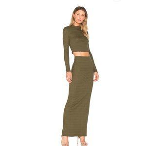 Lulu Column Maxi Skirt in Olive Night